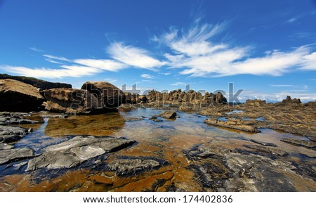 a view of Bombo Headland in Kiama, Australia - stock photo