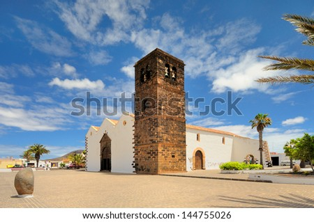 a view of Church of Our Lady of Candelaria in La Oliva, Fuerteventura, Canary Islands, Spain, Europe - stock photo