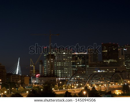 A view of Denver, Colorado downtown right before sunrise. - stock photo