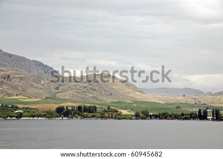 A view of desert town osooyos with lake view in Canada.