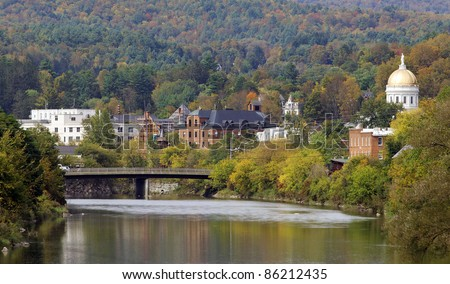 A view of downtown Montpelier, Vermont. - stock photo