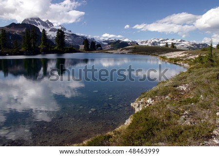 A view of Elfan Lake in BC, Canada. - stock photo