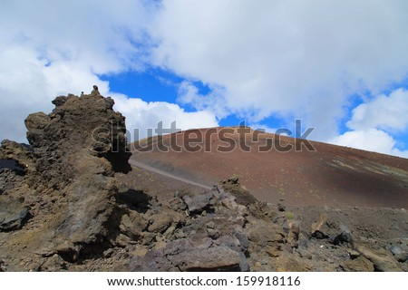 A view of Etna vulcano crater.  - stock photo