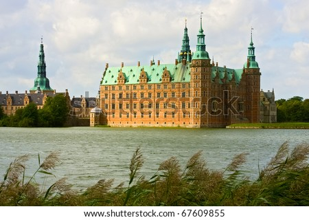 A view of Frederiksborg castle in Hellerod, Denmark - stock photo