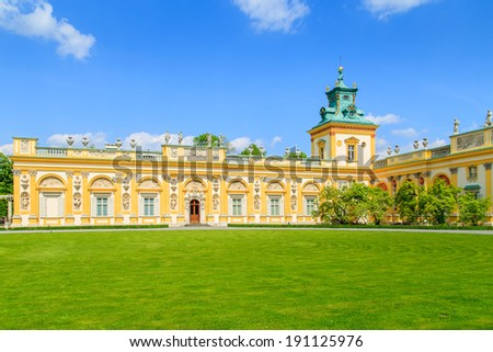 A view of gardens in Wilanow Royal Palace, Warsaw, Poland