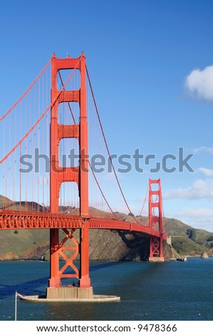 A view of Golden Gate Bridge from Fort Point viewpoint on a fine winter morning - portrait (vertical) orientation. - stock photo