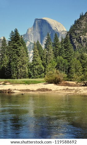 A View of Half-Dome and the River in Yosemite National Park - stock photo