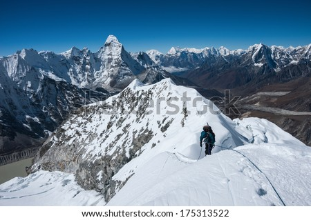 A view of Himalayas from the Island peak summit, Nepal. - stock photo