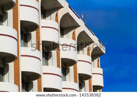 A view of hotel facade - stock photo