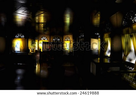 A view of inside malay traditional mansion - stock photo