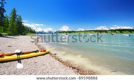 A view of Jackson Lake - stock photo