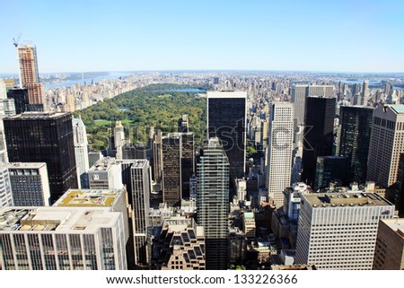 A view of Manhattan and the central park in New york