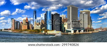 A view of manhattan downtown financial center from ferry - stock photo