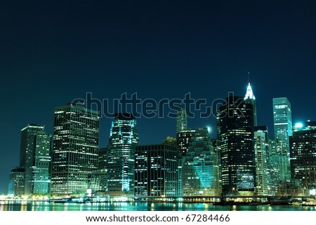 A View of Manhattan Skyline from Brooklyn At Night, New York City - stock photo
