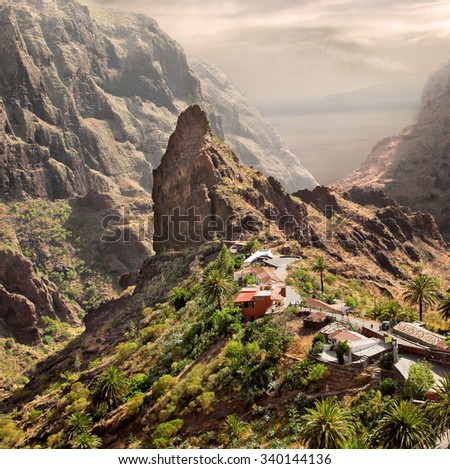 A view of Masca village, Tenerife, Canary Islands - stock photo
