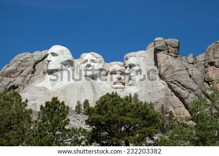 A view of Mount Rushmore in South Dakota. - stock photo