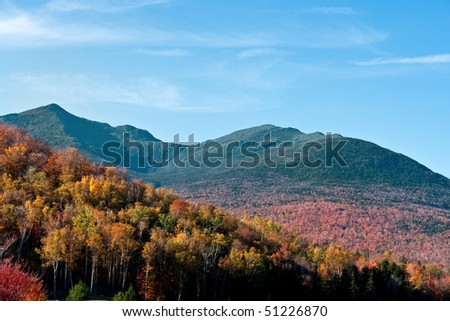 A view of Mount Washington in of New England in Autumn in horizontal view - stock photo