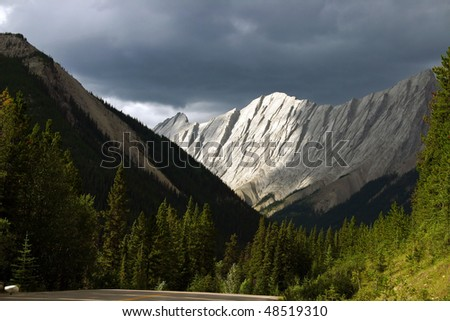 A view of mountain in Jasper national park near medicine lake. - stock photo