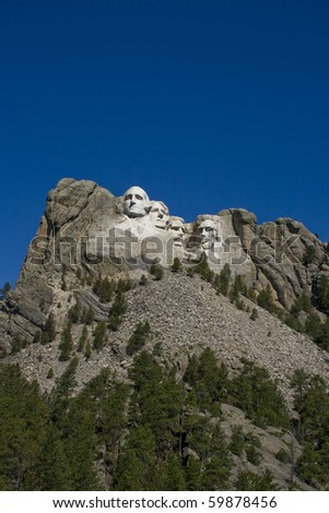 A view of Mt. Rushmore, near Keystone, South Dakota. - stock photo