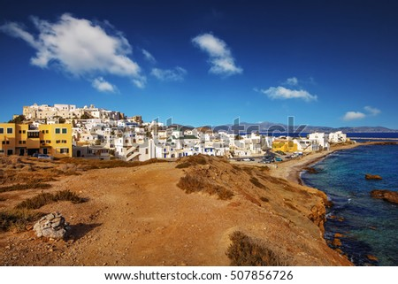A view of Naxos Town (Chora) and Grotta beach in summer
