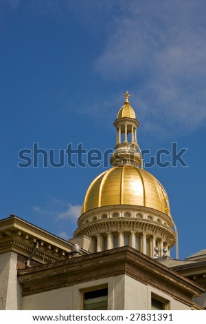 A view of New Jersey's State House dome (with copyspace) - stock photo