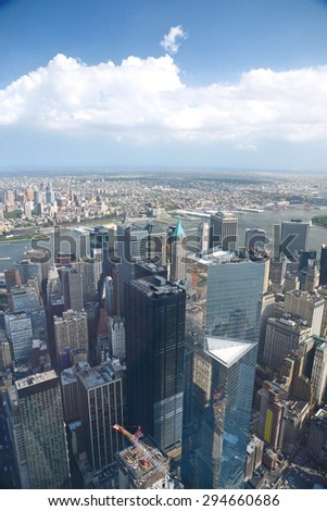 a view of new york downtown as seen from one world trade center observatory deck