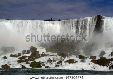 A view of Niagara Falls from the Canadian side. - stock photo