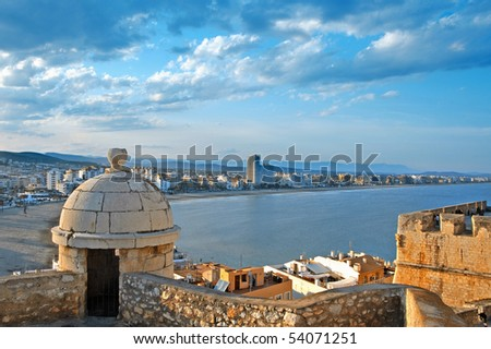 A view of North beach of Peniscola from Castle, Valencia, Spain - stock photo