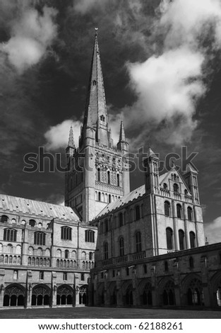A view of Norwich Cathedral, Norfolk, England - stock photo