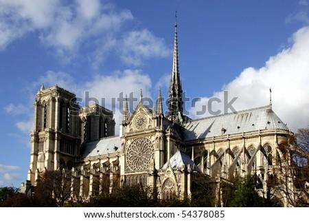 A view of Notre Dame de Paris - stock photo