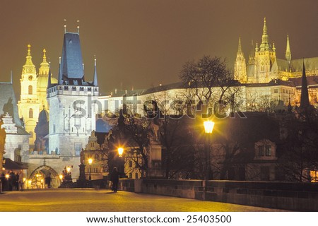 A view of one of the bridge towers of the Charles Bridge.