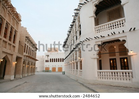 A view of part of the recently (2006/7) rebuilt traditional souq in Doha, Qatar, at sundown - stock photo