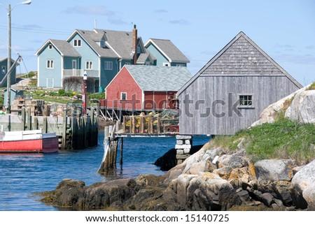 A view of Peggy's Cove in Nova Scotia,Canada. - stock photo