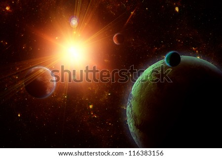 A view of planet, moons and the deep space. Abstract illustration of distant regions. - stock photo
