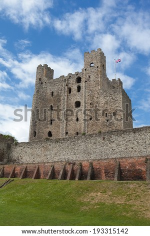 A view of Rochester Castle in Kent, England  - stock photo