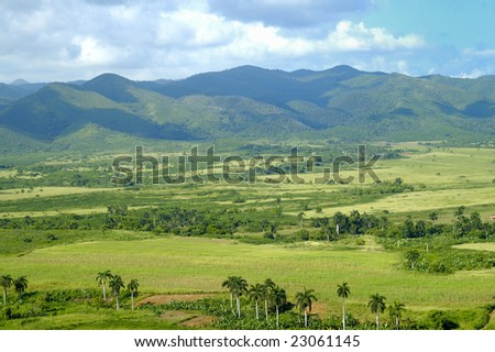 A view of rural tropical landscape with vegetation on cuban countryside - escambray - stock photo
