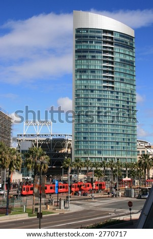 A view of San Diego's Gaslamp section including Petco Park, Harbor Drive and the trolley. - stock photo