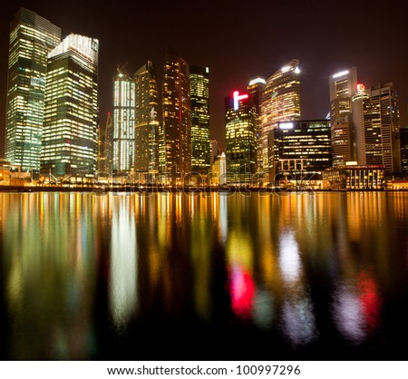 A view of Singapore business district, in the night time