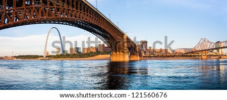A view of St Louis and The Gateway Arch seen through Eads Bridge - stock photo
