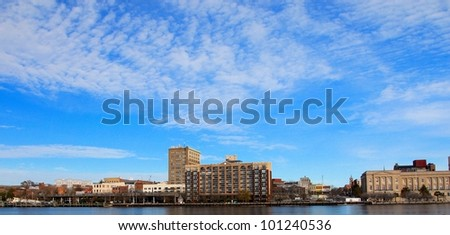 A view of teh city along the Cape Fear River