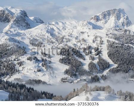 A view of the Alpine landscape in the winter season in Nassfeld - stock photo