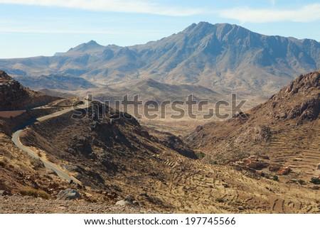 A view of the Anti Atlas mountains (near Tafraout),  Tiznit Province,  Morocco - stock photo