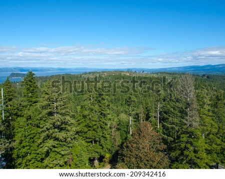 A View of the Astoria Oregon Area from Coxcomb Hill, the Location of the Astoria Column - stock photo