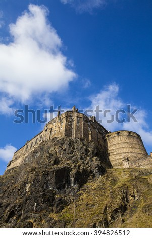 A view of the beautiful Edinburgh Castle ontop of Castle Hill in Edinburgh, Scotland. - stock photo