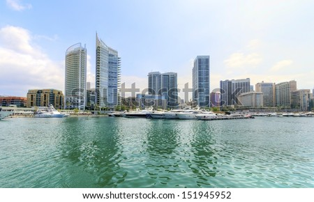 A view of the beautiful Marina in Zaitunay Bay in Beirut, Lebanon. A very modern, high end and newly developed area where yachts are embarked and it's perfect for a waterfront promenade. - stock photo