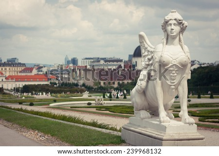 A view of the Belvedere gardens, Vienna - stock photo