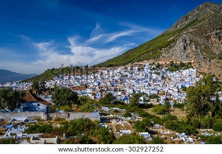 A view of the blue city of Chefchaouen in the Rif mountains, Morocco - stock photo