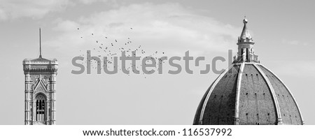 A view of the campanile and the dome of Santa Maria, Florence, Italy - stock photo
