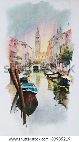 A view of the canal with boats and buildings in Venice, painted by watercolor - stock photo