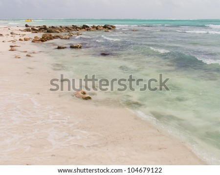A view of the caribbean beach. - stock photo